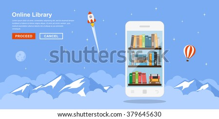 Picture of mobile phone with bookshelves and clouds and mountains on background. Flat style concept banner of online mobile library.