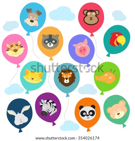 Picture of Multiple balloons of different colors with Animal faces on them