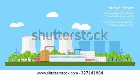 picture of nuclear power plant, flat style banner concept of power generation concept - stock vector