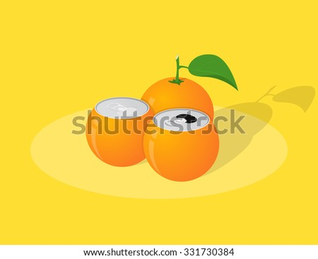 picture of orange juice cans, orange with leaf on yellow background - stock vector