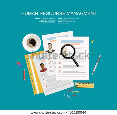 Picture of printed CVs and office accessories: pencils, eraser, magnifying glass, cup of coffee etc, flat style banner design of human resource management concept - stock vector