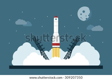 picture of starting space rocket, flat style concept for business startup, new service or product launch - stock vector