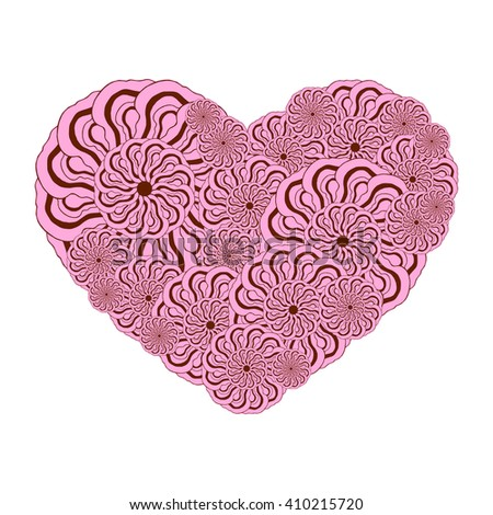 Picture of the heart of stylized flowers of stylized flowers in pale pink and brown colors. Isolated on white background. Vector illustration. - stock vector