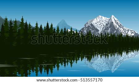 Picture of the lake in the forest with mountain peak on background and reflection in water, travel, tourism, hiking and trekking concept, flat style illustration