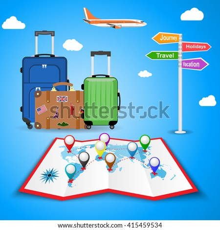 picture of travel bags and signpost vacation, travel, journey, holidays with clouds and plane, on background. illustration in flat design. travel and vacations concept - stock vector