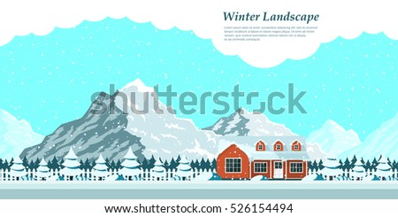 picture of winter landscape with private house, snow-covered firs, falling snow and mountains on background