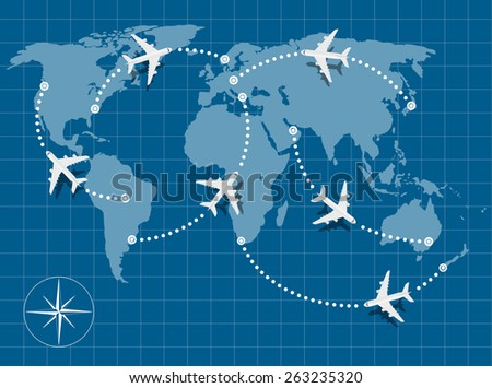 picture of world map with flying planes on it - stock vector