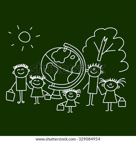 Picture on blackboard.  Illustration of kids with teacher. - stock vector