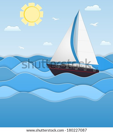 Picture with a boat in the sea, sun and clouds, paper stylized