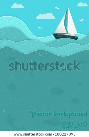 Picture with a boat in the sea, sun and clouds, paper stylized with place for Your text