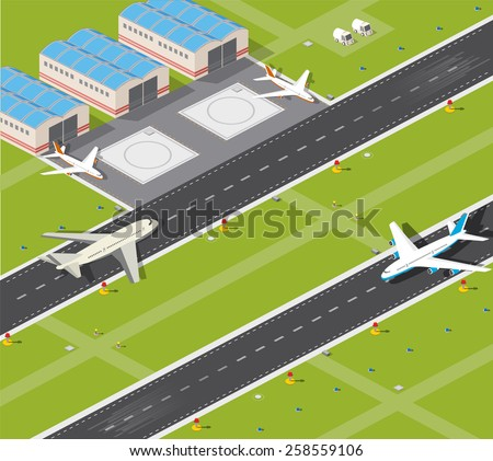 Picture with the image planes and airport runway