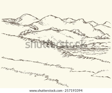 Picturesque summertime scene. Trail on grass glade among steep bank of marine gulf. Monochrome freehand ink drawn backdrop sketchy in art doodle antiquity style pen on paper with space for text on sky - stock vector