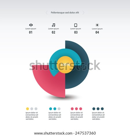 Pie chart, circle graph infographics element. Vector. - stock vector