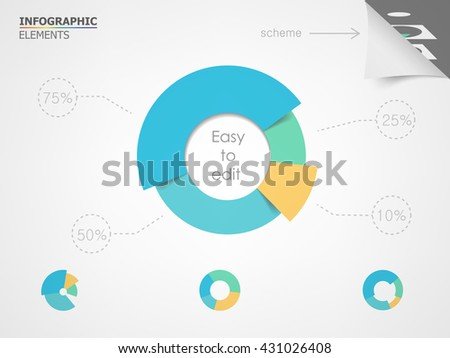 Pie chart. Elements for infographic presentation templates leaflet, annual report, brochure, layout and flyer design. Easy to edit and use. - stock vector