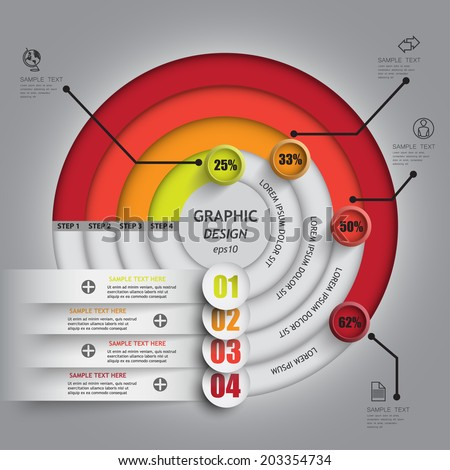 Pie chart line circle percent complete indicators / Business Report template