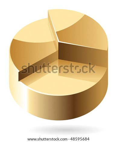 Pie chart made of gold. Vector illustration.