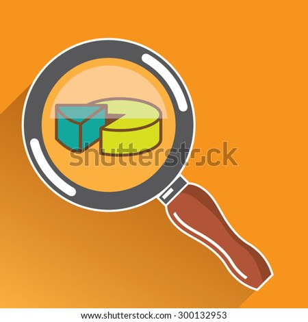 Pie Chart through Magnifying Glass Icon vector