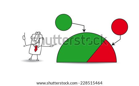 Pie chart with a businessman. Joe shows a pie chart with the results of his company. the balance sheet is very good. the goals are growing up.  Write your data in the free space. - stock vector