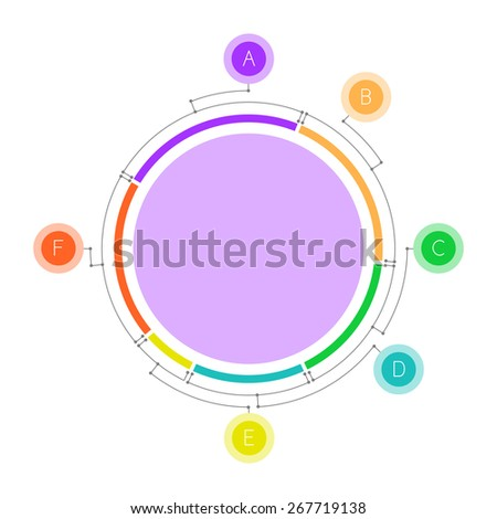 Pie chart with satellites connected by lines. Clean and simple. - stock vector