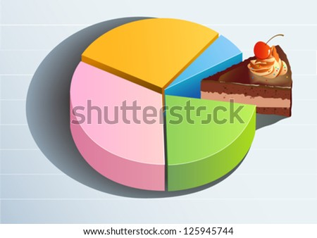Pie Graph displaying the share of profits, market or sales - stock vector