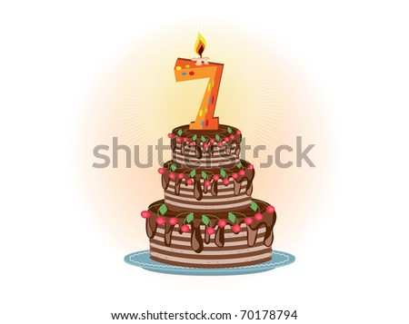 Pie to the seven years - stock vector