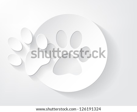 Piece of animal trace cut out from a piece of paper with a nice shadow. - stock vector