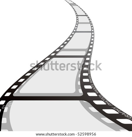 Piece of camera film with wave and drop shadow - stock vector
