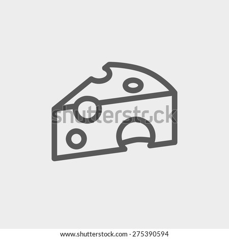 Piece of cheese icon thin line for web and mobile, modern minimalistic flat design. Vector dark grey icon on light grey background. - stock vector