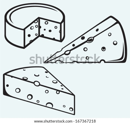 Piece of cheese isolated on blue background - stock vector