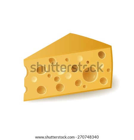 Piece of cheese on white background, vector illustration. - stock vector