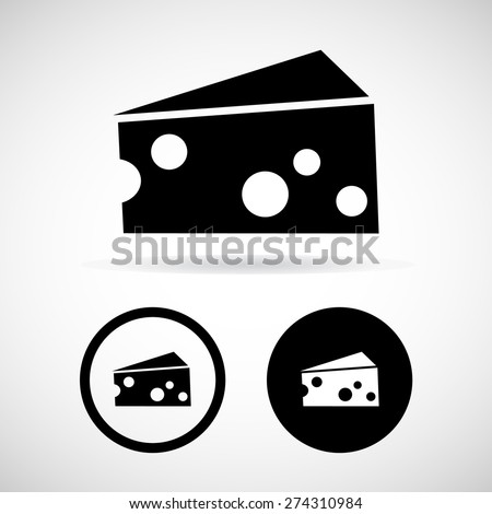 Piece of cheese. The isolated object on a white background, Vector illustration - stock vector