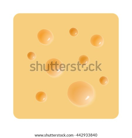 piece of cheese with holes on a white background