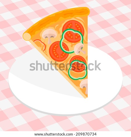 Piece of Italian pizza under white plate - stock vector