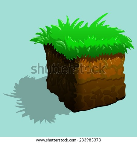 Piece of land with green grass. Vector illustration.