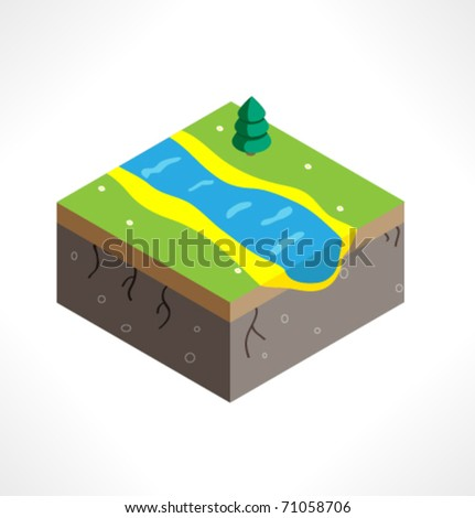 Piece of land with vegetation and river.  Part of the map. Isometric. - stock vector