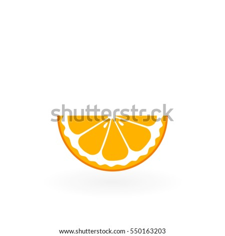 Piece of orange isolated on white.