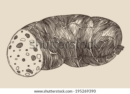 piece of sausage, vintage illustration, engraved retro style, hand drawn, sketch - stock vector