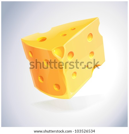 piece of yellow porous cheese food with holes - vector illustration - stock vector