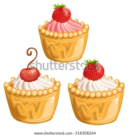 Pieces of cake with cherries and strawberry - stock vector
