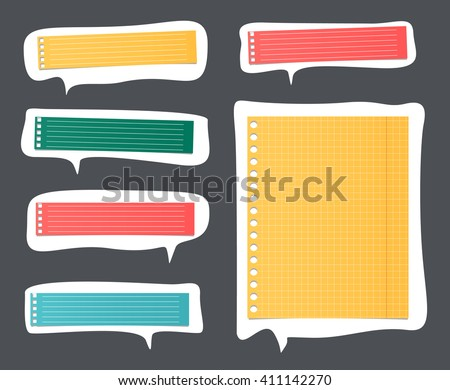 Pieces of cut colorful lined notebook paper on white speech bubbles