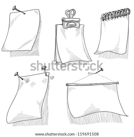Pieces of paper for text, sketch vector - stock vector