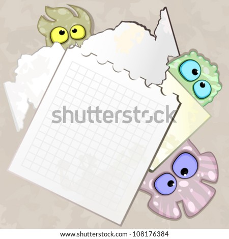 Pieces of paper with bizarre creatures - stock vector