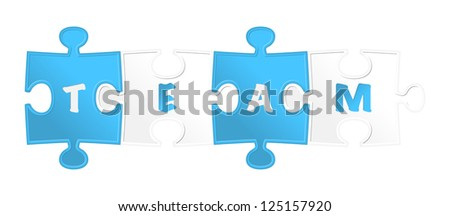 """pieces of puzzle and word """"team"""". Vector illustration - stock vector"""