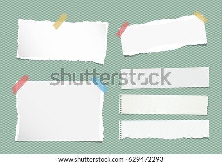 Pieces of ripped white note, notebook, copybook paper sheets stuck with colorful sticky tape on squared green background