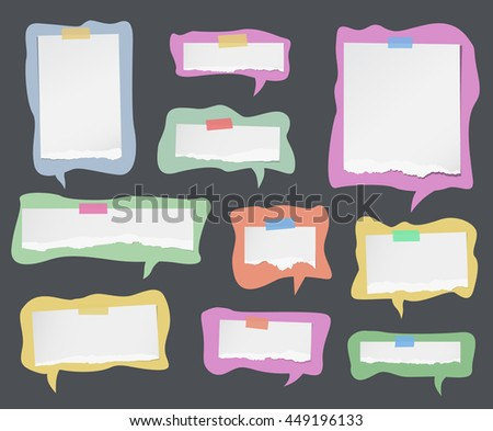 Pieces of ripped white note paper are on colorful speech bubbles