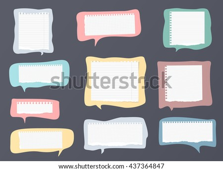 Pieces of ripped white ruled notebook paper are on colorful speech bubbles