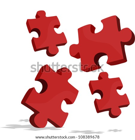 pieces of the puzzle that looks fall - stock vector