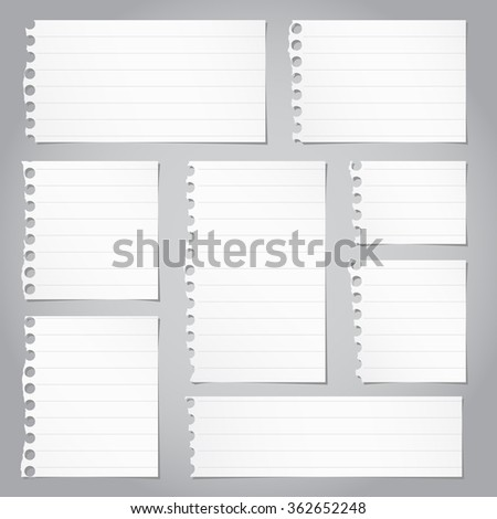 Pieces of torn gray lined note paper