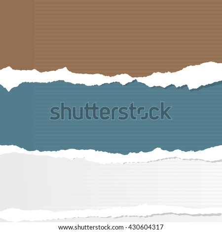 Pieces of torn lined colorful and white paper sheets are stuck on gray background.