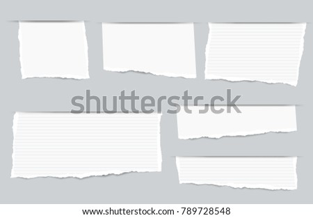 Pieces of torn white blank and ruled copybook strips inserted into cut paper